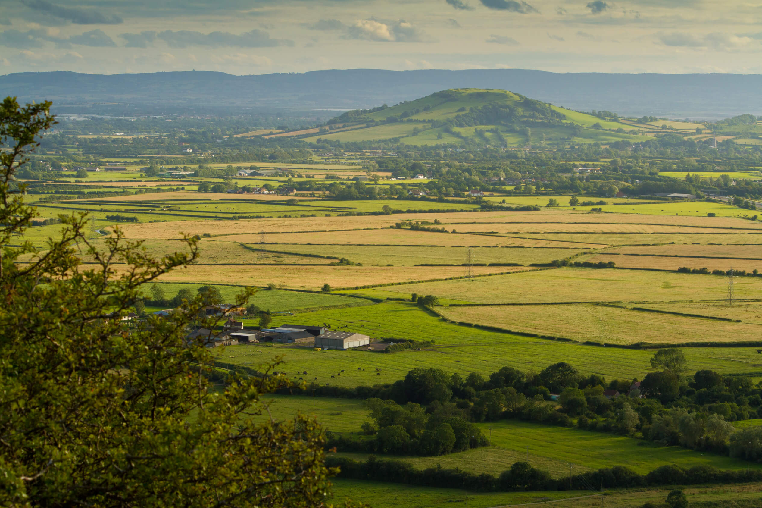 Brent Knoll as seen from Crook peak Mendips Somerset